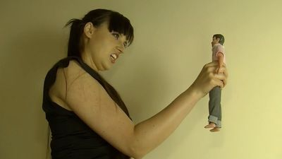 Giantess smashes tiny toy